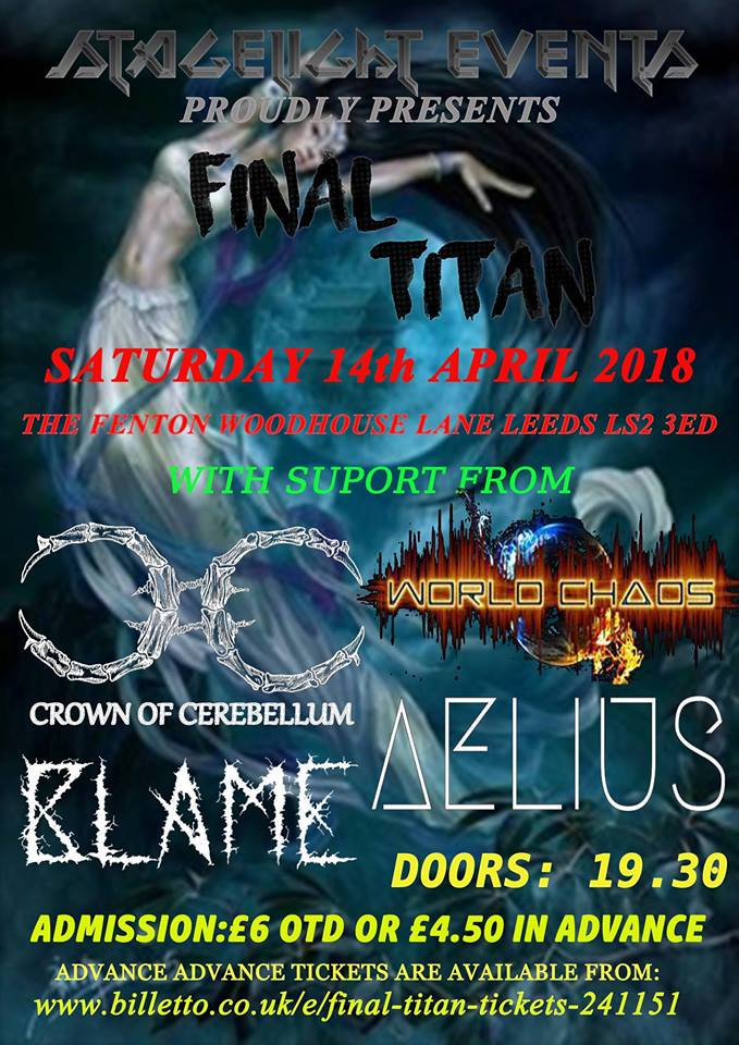 Stagelight Events Presents Final Titan Live at The Fenton Leeds 00, Apr 14